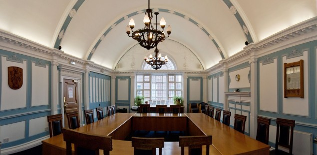 Council chamber, tables, chairs