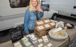 Female, stallholder, market.