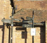 Street furniture. Finger sign boards, Wagon Yard, Farnham