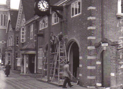 Old black and white photo of town council offices