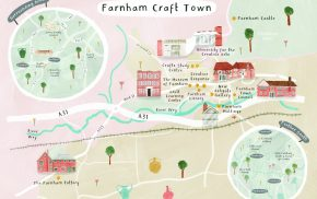 Illustrated pastel coloured map of Farnham town centre